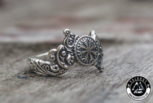 The Magical Power oF Ægishjálmr - Helm of Awe Ring, 925 Sterling Silver