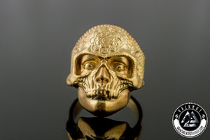 Vintage Flower Skull Ring, 14K Gold