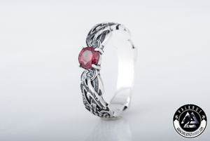 Viking Ring with Red Cubic Zirconia, 925 Sterling Silver