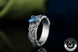 Viking Ring with Blue Cubic Zirconia, 925 Sterling Silver