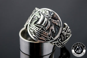 Legendary Viking Longship Ring, 925 Sterling Silver