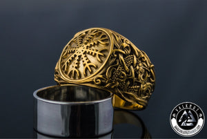 The Helm of Awe and Terror Ring, 14K / 18K Gold