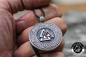 Valknut Pagan Amulet Pendant, 925 Sterling Silver