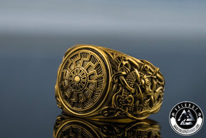 Black Sun Ring, 14K / 18K Gold