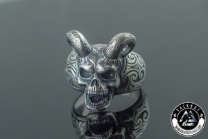 Horned Warrior Skull Ring, 925 Sterling Silver