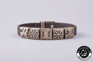 Sleipnir, Helm of Awe, Yggdrasil, Vegvisir & Mjölnir Bracelet, Bronze Charms & Italian genuine leather