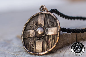 Viking Warrior Shield Pendant, Bronze