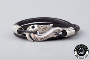 Fish Hook Wristband, Genuine Leather & Silver Plated Bronze