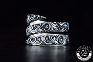 Norse Snake Ring, 925 Sterling Silver