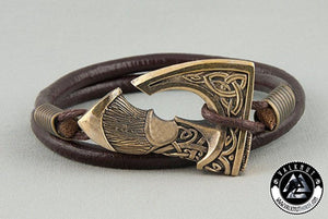 Pagan Axe Wristband, Genuine Leather & Bronze