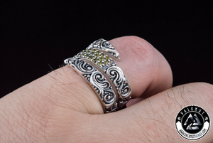 Norse Snake Ring with Gems, 925 Sterling Silver