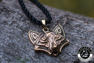 Viking Fox Amulet Pendant, Bronze