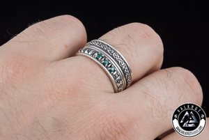 Norse Poetry and Runes Ring, 925 Sterling Silver