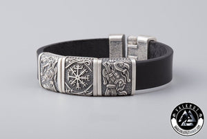 Vegvisir, Huginn & Munin Bracelet, Silver Plated Bronze Charms & Italian genuine leather