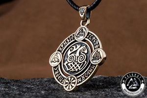 Sleipnir Pendant with Viking Symbols, Bronze