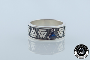 Valknut Ring with Cubic Zirconia, 925 Sterling Silver