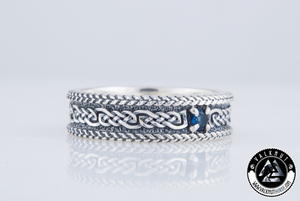 Viking Spirit Ring with Blue Gem, 925 Sterling Silver