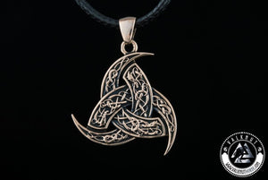 The Triple Horn of Odin - Wisdom & Poetic Inspiration Amulet Pendant, Bronze