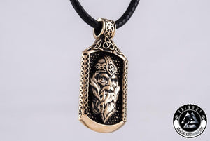 God Odin - Norse Warrior Pendant, Bronze