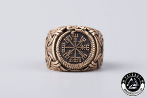The Runic Compass Vegvísir & The Midgard Serpent Ring, Bronze