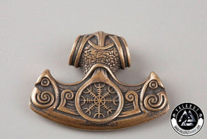 Viking Axe with Helm of Awe Pendant, Italian Bronze