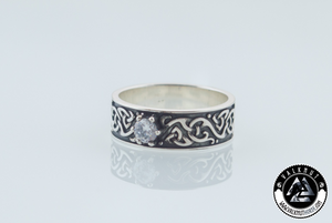 Viking Ring with White Cubic Zirconia, 925 Sterling Silver