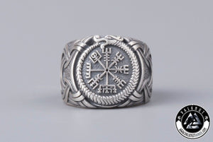 The Runic Compass Vegvísir & The Midgard Serpent Ring, 925 Sterling Silver