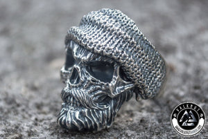 skilled Biker Skull Ring, 925 Sterling Silver