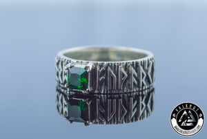 Viking Runes with Green Cubic Zirconia, 925 Sterling Silver