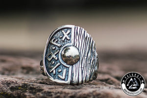 The Great Shield Wall - Viking Shield Ring, 925 Sterling Silver