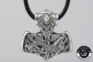 Thor's Hammer Mjölnir with Raven Head Pendant, 925 Sterling Silver