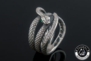 Snake Bite Ring with Gem, 925 Sterling Silver