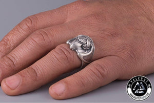 Odin's Raven Ring, Silver Plated Bronze