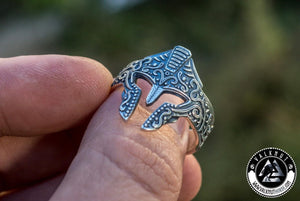 Ancient Warrior Helmet Ring, 925 Sterling Silver