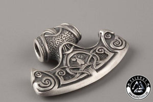 Viking Axe with Helm of Awe Pendant, 925 Sterling Silver
