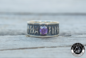 Viking Runes with Purple Cubic Zirconia, 925 Sterling Silver