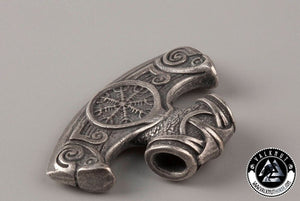 Viking Axe with Helm of Awe Pendant, Silver Plated Italian Bronze
