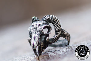 Celtic Horned Ram Ring, 925 Sterling Silver