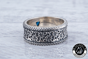 Trinity Knot Ring with Blue Cubic Zirconia, 925 Sterling Silver