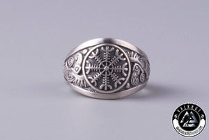 The Helm of Awe + Huginn & Muninn Ring, Silver-Plated Bronze
