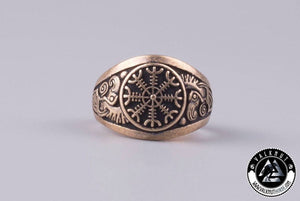 The Helm of Awe + Huginn & Muninn Ring, Bronze