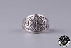 The Helm of Awe + Huginn & Muninn Ring, 925 Sterling Silver