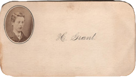 Victorian Calling Card of H. Grant Manchester, New Hampshire NH