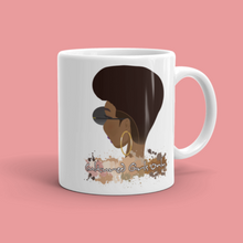 Load image into Gallery viewer, Ceramic mug with illustration of woman with afro