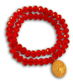 34 EMF Jewelry - Red Crystal Double Duty Bracelet - 8mm beads EMF Bio Protector - Quantum EMF Protectors