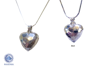 "Faceted Live HEART Pendent 925 Ag Silver 20 x 25 mm Heart  with 23"" Silver Chain"