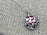 Flower Of Live Silver Pendent 36mm round 925 Ag Silver With Crystals inside