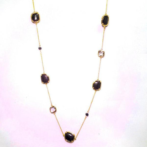 New Product - 87  Gold Chain Onyx with Semi Precious Stone Stations Approx: 36