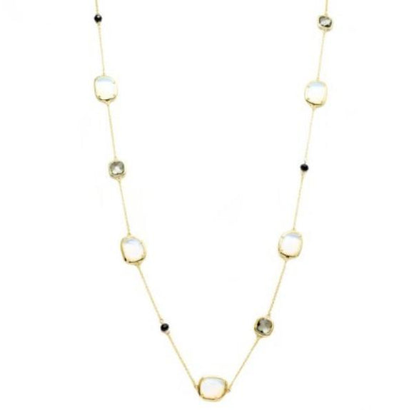 New Product - Gold Chain with Semi Precious Stone Stations Approx: 36