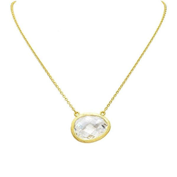 New Product - Gold Uneven Cubic Zirconia Pendant Necklace - Quantum EMF Protectors